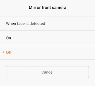 mobile phone camera settings mirror