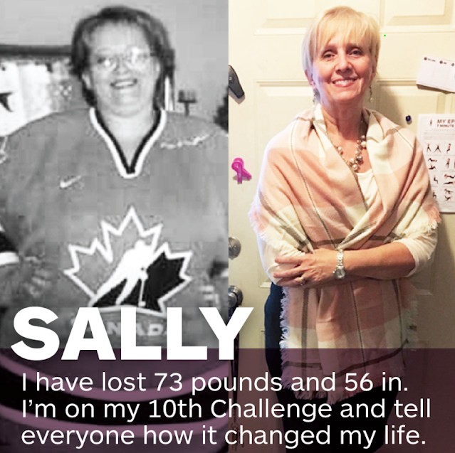 Two images of a woman named Sally who has lost 73 pounds and 56 inches from The Epicure Epic Life Challenge. She has done the challenge ten years