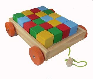 Carrito con cubos - carro con cubos de madera