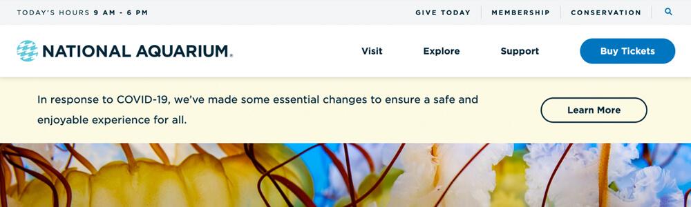 National Aquarium website alert banner