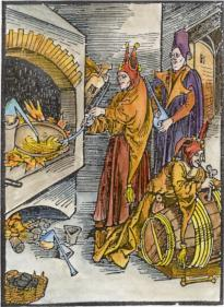 Satirical Woodcut Of Alchemists From Sebastian Brandt Narrenschiff 1494, Alchemical And Hermetic Emblems 2
