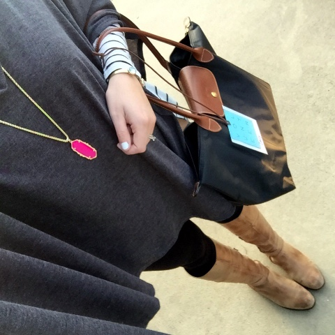 kendra scott, tan riding boots, black tote