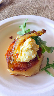 Portland Monthly Country Brunch 2015, Yahala's Breakfast Canape with grilled potato, tomato marmalade, egg relish, and smoked lamb bacon