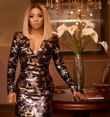 Toke Makinwa's birthday outfit is a Balmain camouflage sequin dress that costs N1.2million