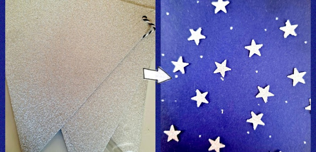 Use recycled bunting banner to make glittery stars