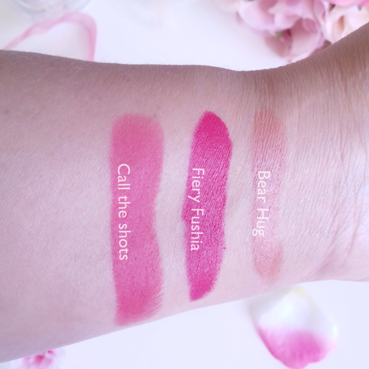 Bright Lipsticks Call the Shots, Fiery Fuchsia and Bear Hug