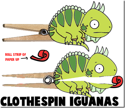 iguana Manualidades niños con pinzas ropa
