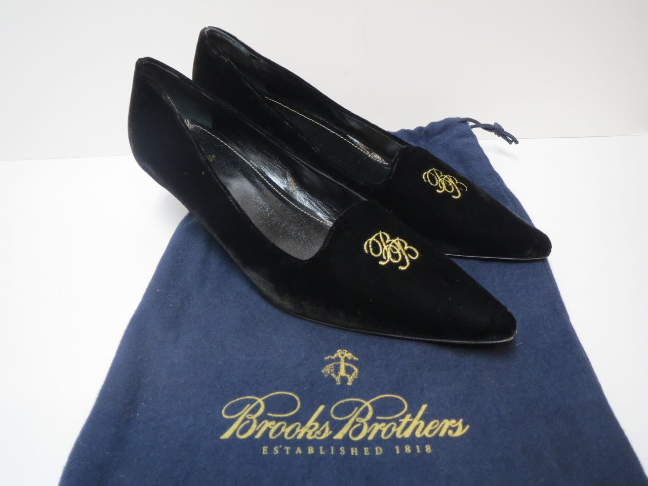Brooks Brothers Monogram Black Velvet Kitten Heels