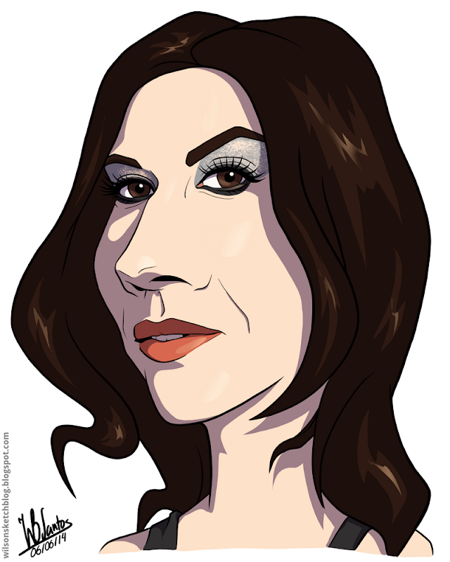 Cartoon caricature of Cristina Scabbia.