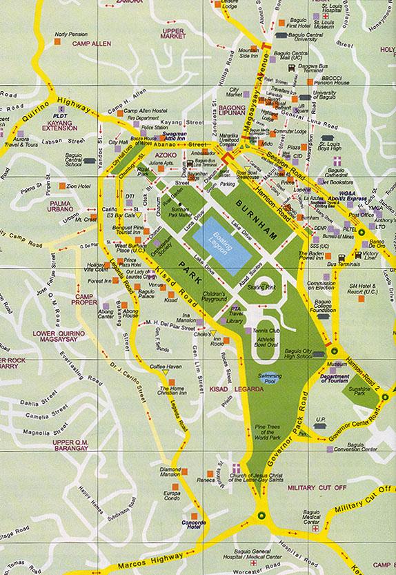 Baguio tourist spots map