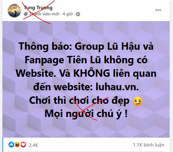[Thông báo] luhau.vn không liên quan tới group Lũ Hậu .vn (Fanpage Tiên Lũ)