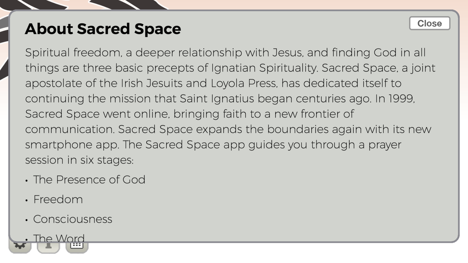 Sacred Space- screenshot