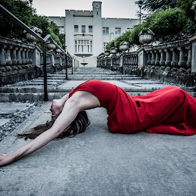 With Amy at Hatley Castle by GThomas Muir - People Portraits of Women ( amy staples, hatley castle, beauty, ballet, red dress )