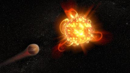 estrela anã vermelha erodindo a atmosfera de planeta