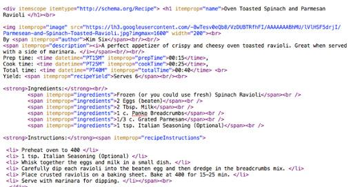 Plain text HTML markup