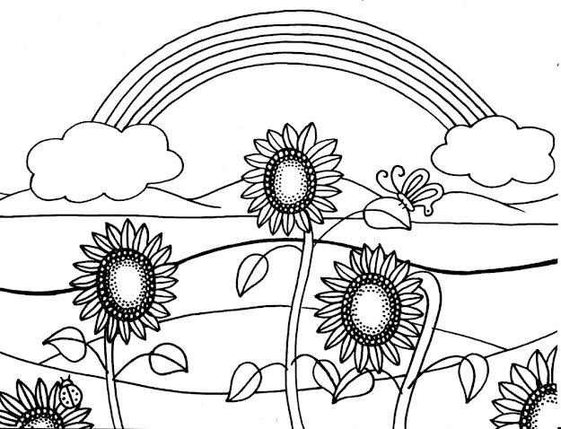 Coloring Sunflower For Kids Coloring Page