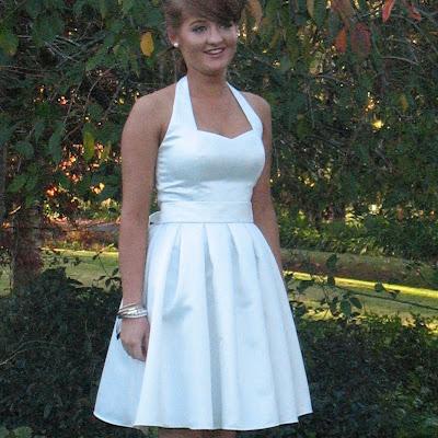 Ellen - Short Ivory halterneck ball dress