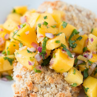 Macadamia Crusted Mahi Mahi with Mango Salsa.