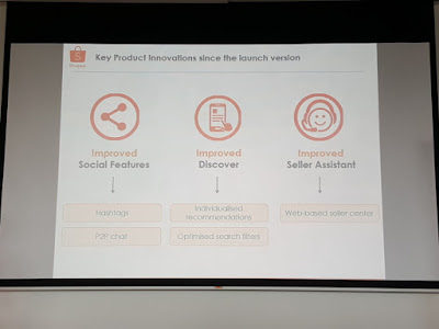 A summary of key product innovations introduced since the launch: improvements in social features, discovery - being able to find items that would be of interest to the buyer - and more help for sellers.