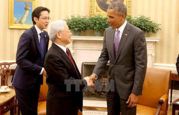 Tong thong Hoa Ky Barack Obama don Tong Bi thu Nguyen Phu Trong Anh Tri DungTTXVN