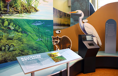 Cork and sustainable printing materials were used for this exhibit at Grand Bay NERR