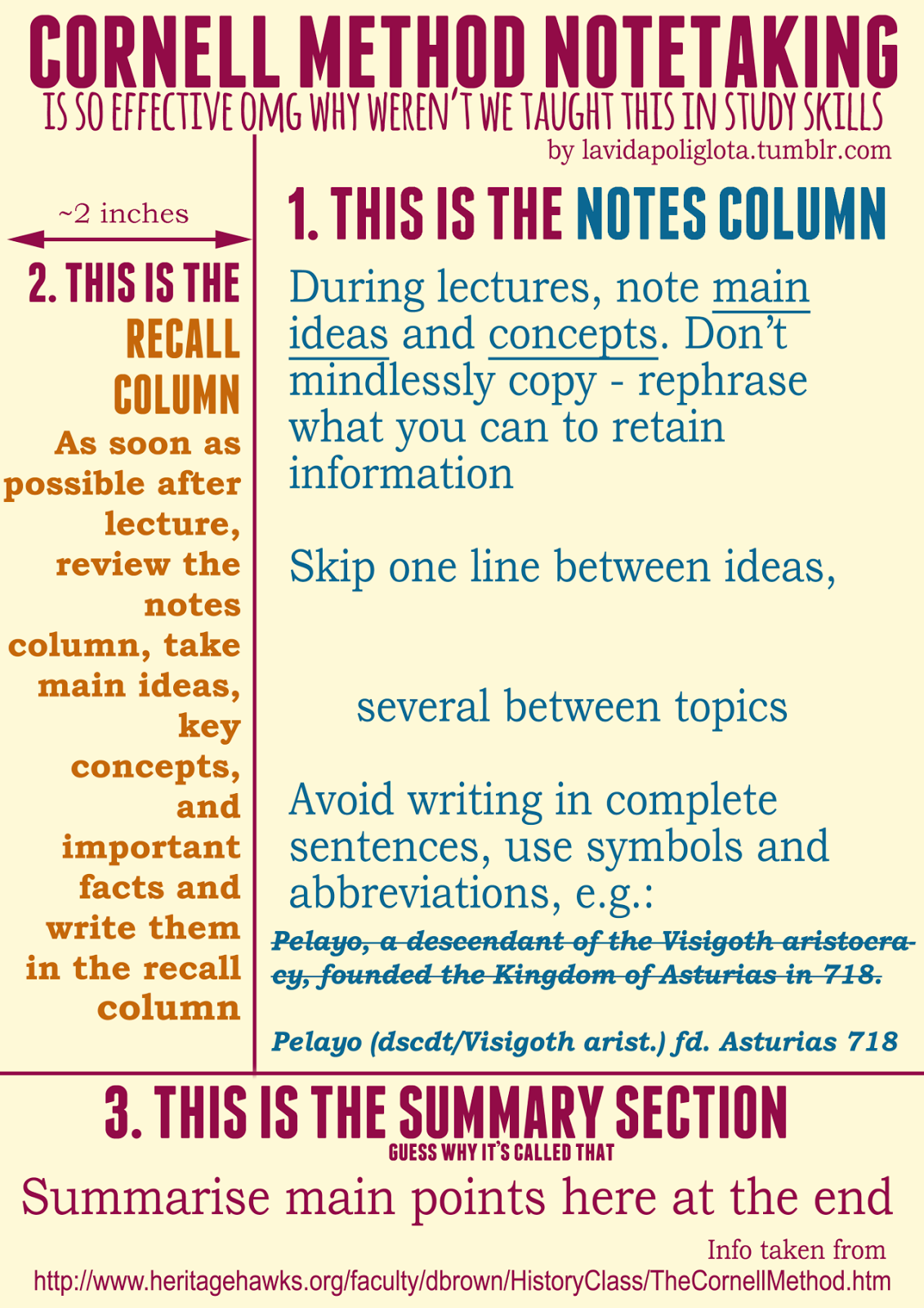3 column notes template - study like hermione cornell note taking method free
