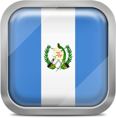 Guatemala square flag with metallic frame