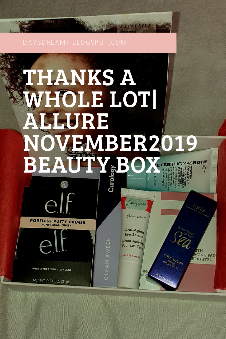 Pinterest image -thanks a whole lot allure beauty box nov 2019