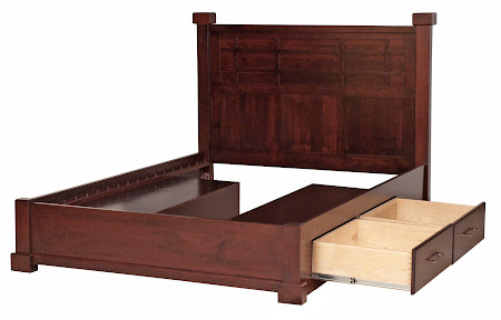 Sacramento Triptych Platform Bed with Storage, in Custom Cherry