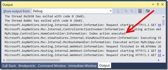 "Mensaje informativo en la ventana ""Output"" de Visual Studio"