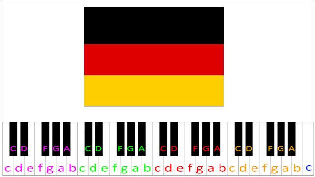 Deutschlandlied Germany Anthem Piano Letter Notes