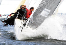 "J/80 sailboat ""PIKE"" from Germany sailing fast"