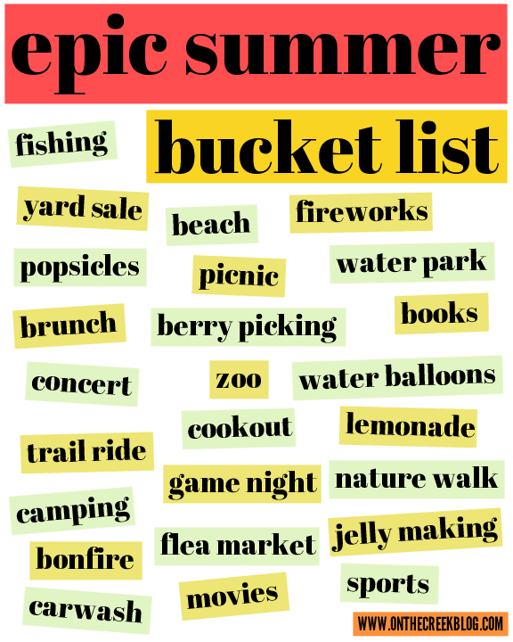 Epic Summer Bucket List Free Printable