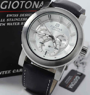 jam tangan Giotona GT7173 black leather silver white