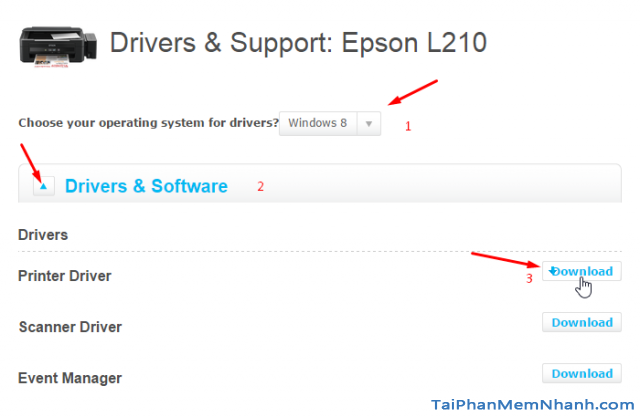 Chọn driver epson l210 tương ứng với hệ điều hành của bạn