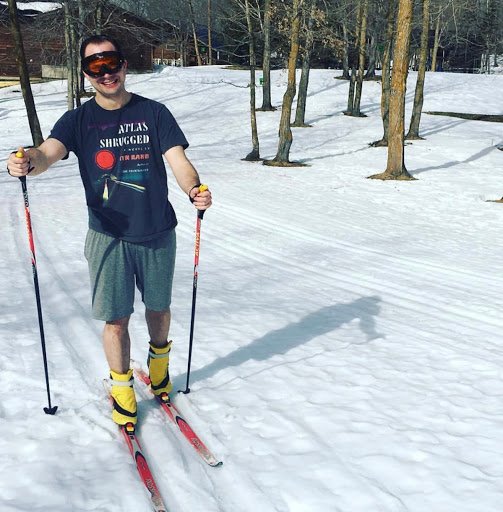 Torin Gustafson enjoying the spring skiing conditions.