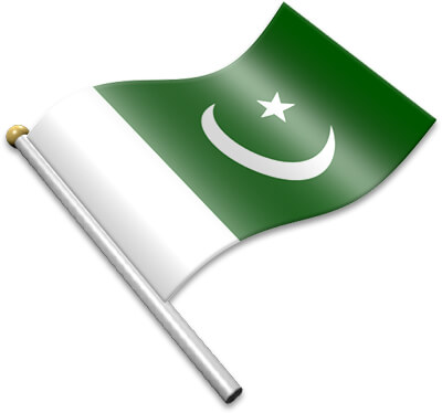 The Pakistani flag on a flagpole clipart image