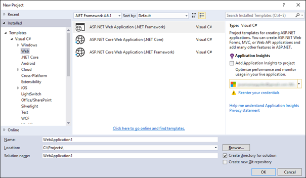 Plantillas de proyecto ASP.NET Core en Visual Studio