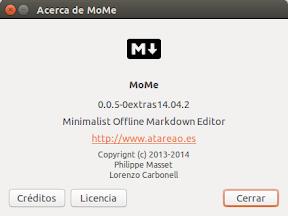 Edición de textos minimalista con MoMe en Ubuntu Trusty Tahr