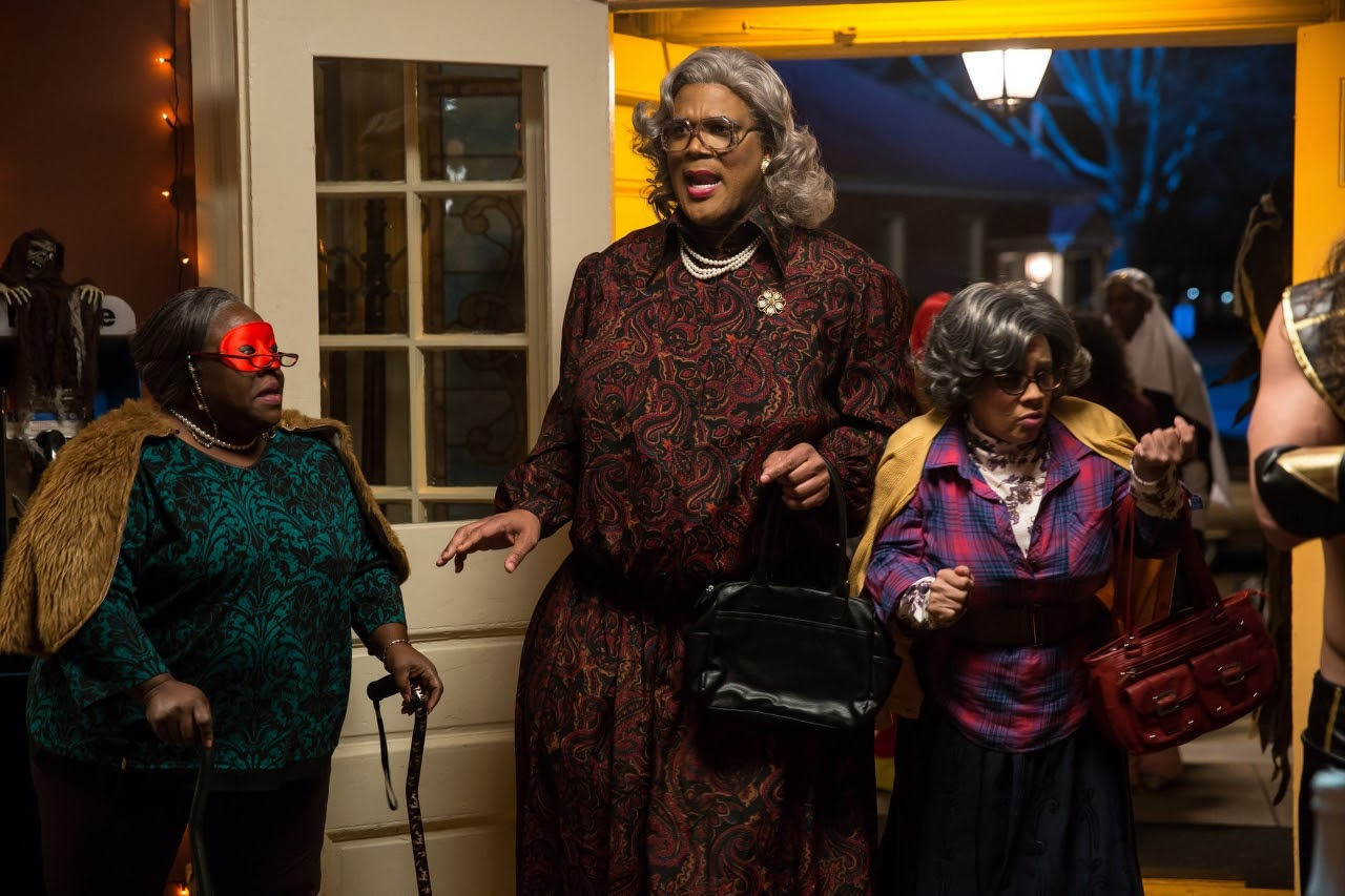 Aunt Bam (Cassi Davis, left), Madea (Tyler Perry, center) and Hattie (Patrice Lovely, right) in BOO! A MADEA HALLOWEEN. (Photo by Eli Joshua / Lionsgate).