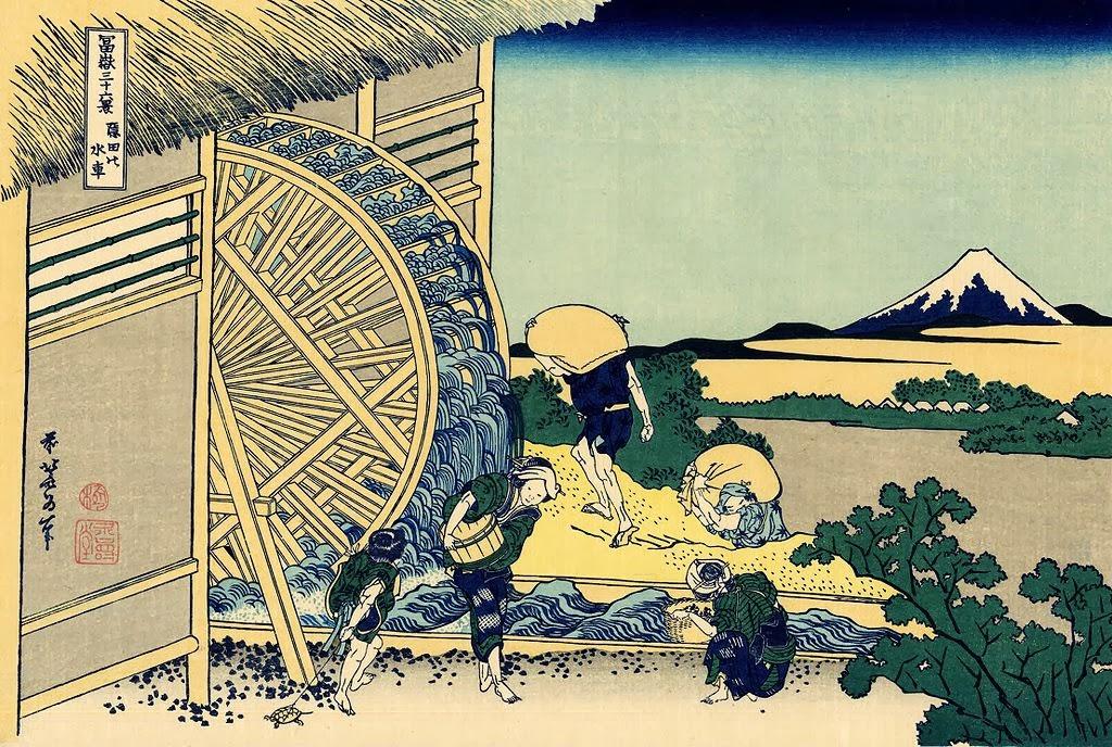 Katsushika Hokusai - Waterwheel at Onden