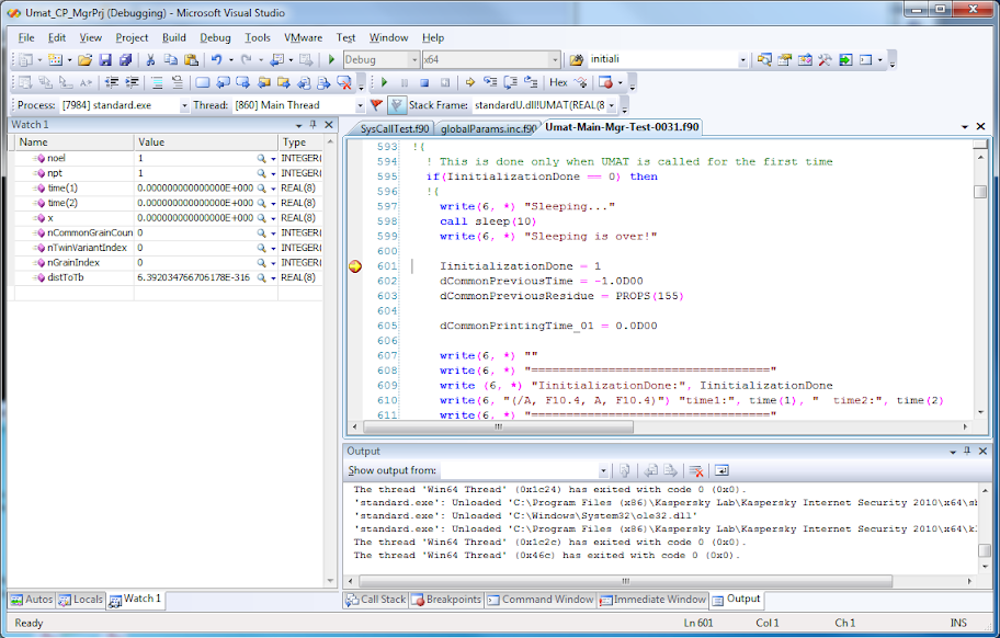 Debugging standard user subroutines of ABAQUS | iMechanica