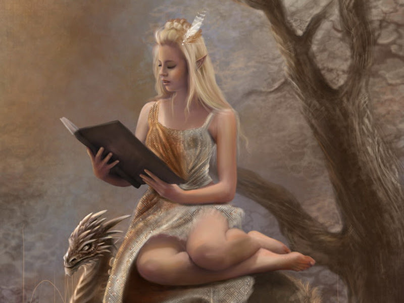 Elf Princess Reading Magic Book, Spirit Companion 4