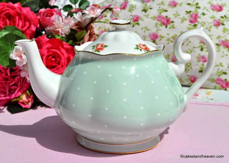 Royal Albert Green Polka Dot and Roses Teapot