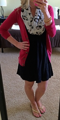 Black sundress with red boyfriend cardigan and leopard scarf