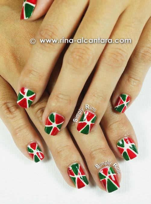 Christmas Pinwheel Nail Art Design