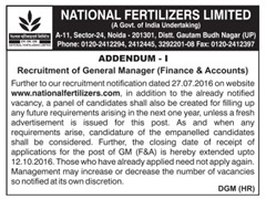 National Fetilizers Limited GM Jobs 2016 Addendum