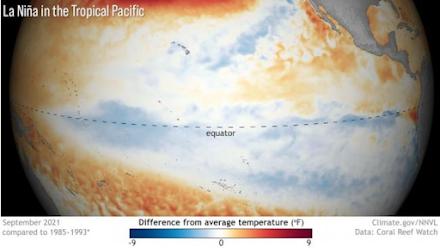 NOAA : Συνεχίζει η ψυχρή φάση La Niña στον Ειρηνικό και αυτόν τον χειμώνα