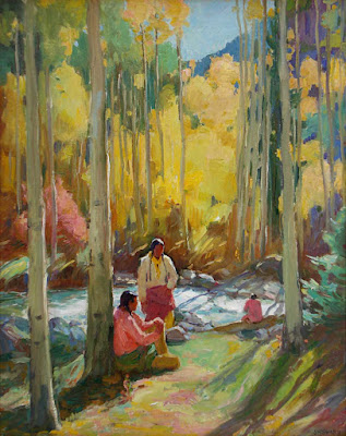 """Indians in Aspen Forest Twining"""