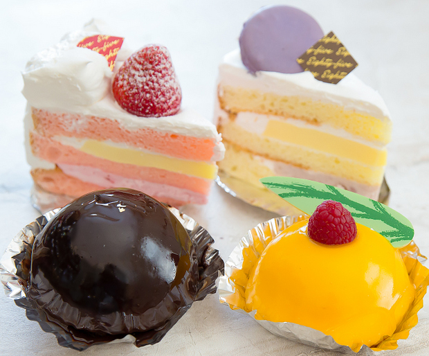 photo of a Strawberry Cream, Taro Brulee, Mango Delight, and Chocolate Pearl